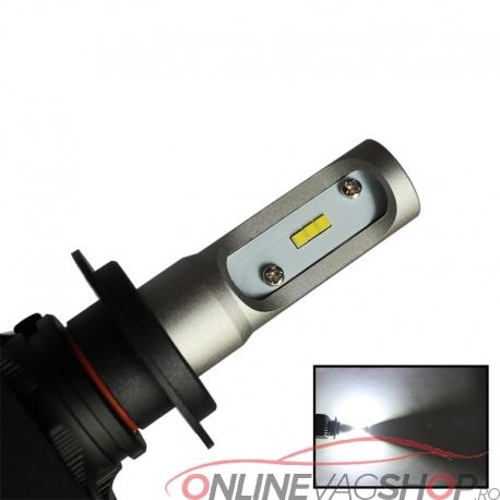 Set becuri tehnologie LED- H1 H3 H4 H7 6500K  4000LM Canbus