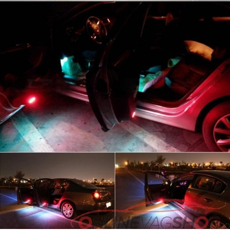 Set lampi LED lumina rosie/alba avertizare usi deschise VW Golf 5, Golf 6, Passat B6, Passat CC