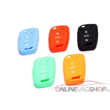 Husa silicon GOLF 7/Jetta diverse culori pt cheie 3 butoane tip briceag