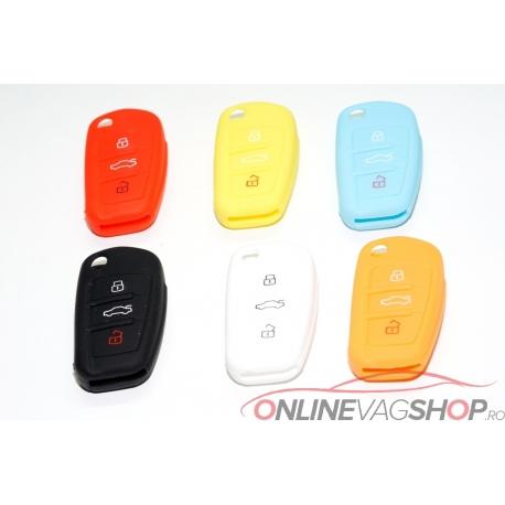Husa silicon Audi A3,A4,A6,Q7 diverse culori pt cheie 3 butoane tip briceag