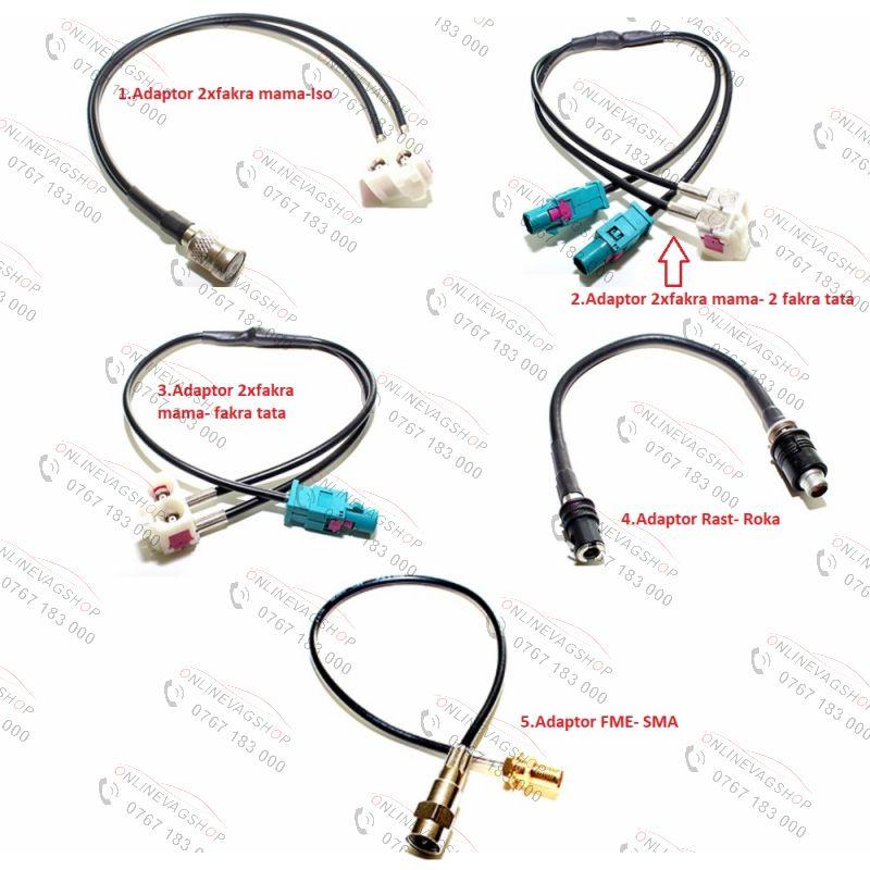 Adaptor antena conector 2FAKRA,RAST, ISO,ROKA,FME, SMA