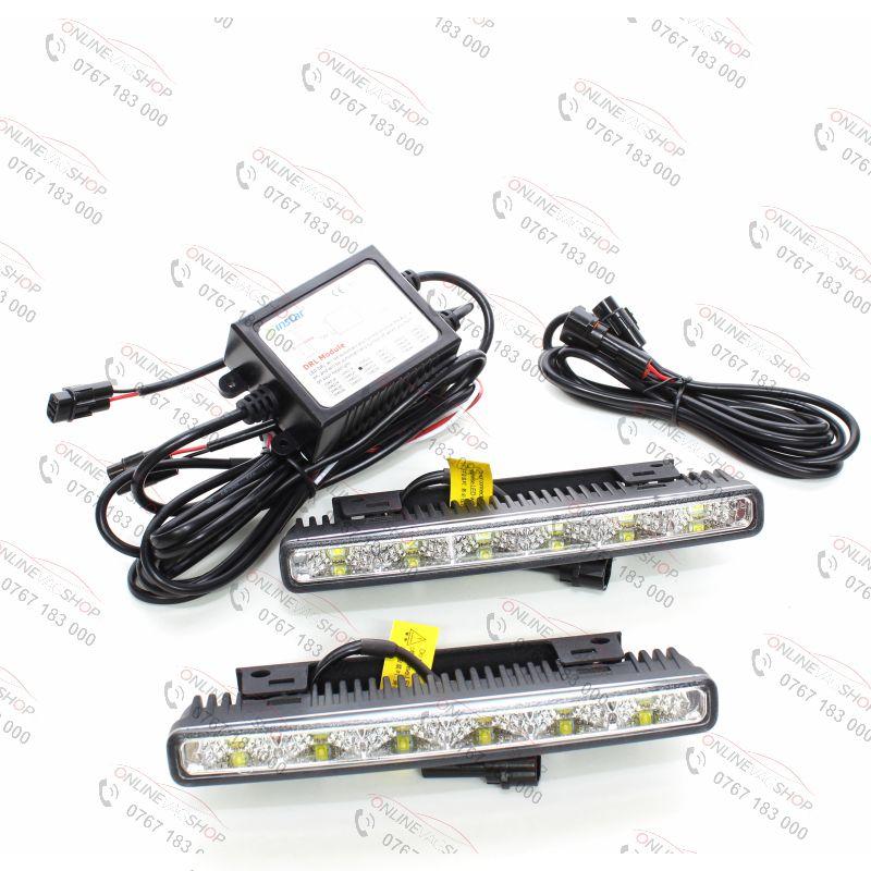 Set lumini de zi DRL cu led 12W cu modul de comanda